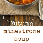 2 bowls of minestrone soup with spoons and Parmesan cheese