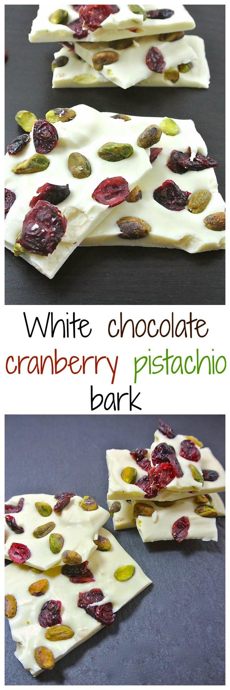 White chocolate cranberry & pistachio bark
