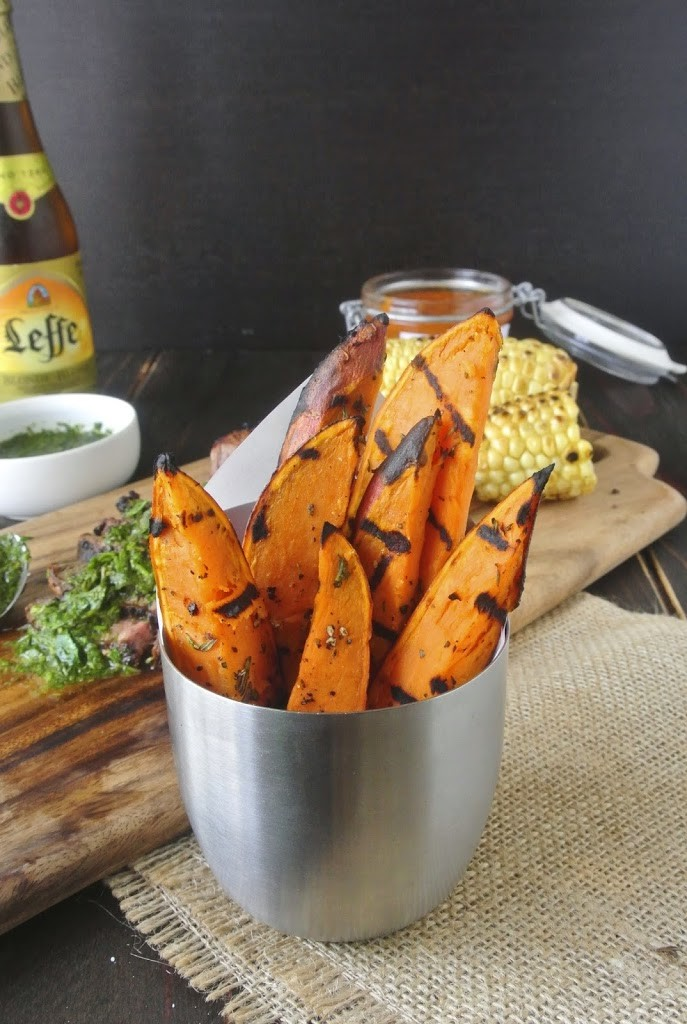Grilled sweet potatoes served in a silver bowl