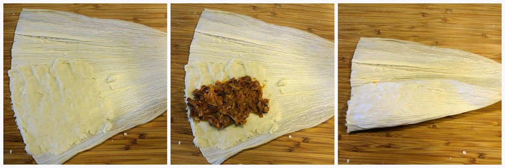 A step by step showing how to fill a tamale