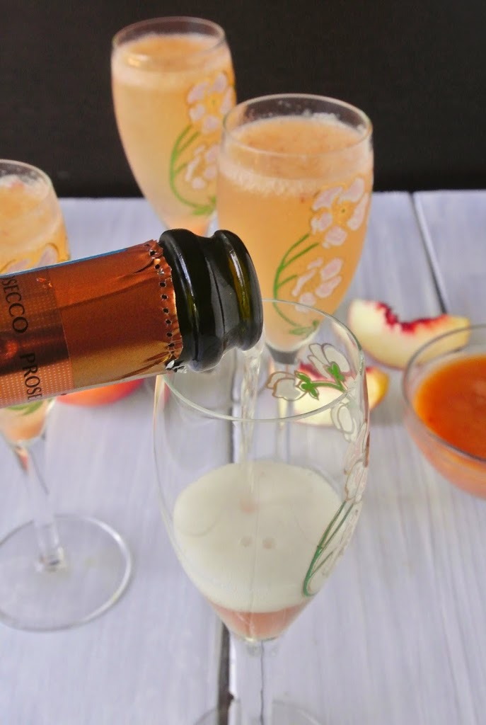 White peach Bellini is a classic drink from Venice Italy of white peach purée and Prosecco. What started at Harry's bar in Venice Italy in 1948,  has become a classic trend across the world.