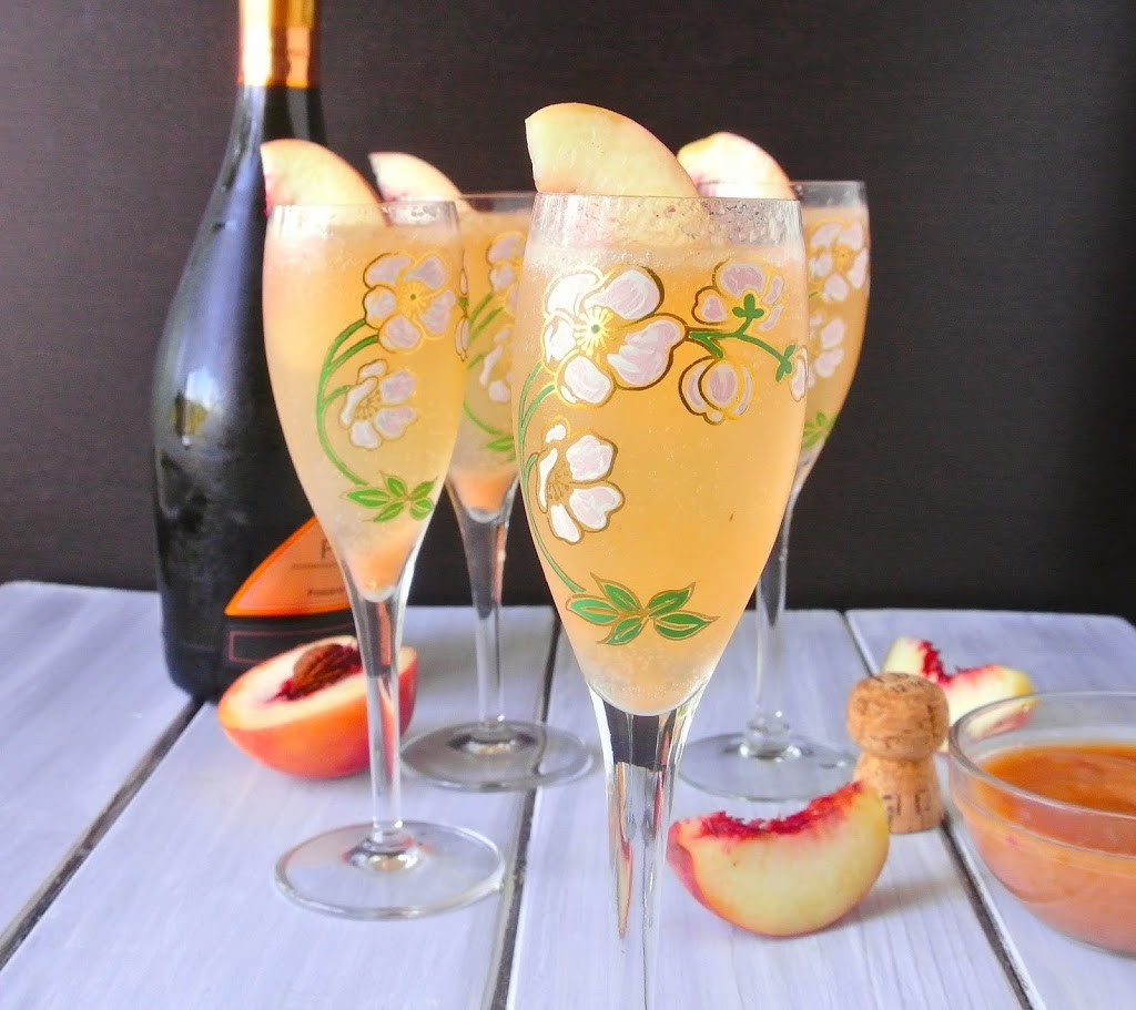 White peach Bellini is a classic drink from Venice Italy of white peach purée and Prosecco.What started at Harry's bar in Venice Italy in 1948, has become a classic trend across the world.
