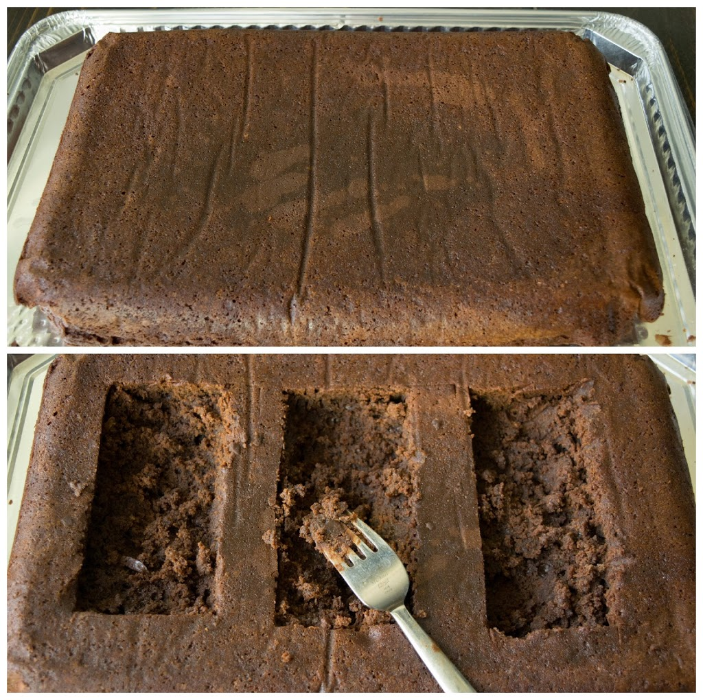 3 graves are cut into a large brownie and scraped with a fork to make 'dirt'