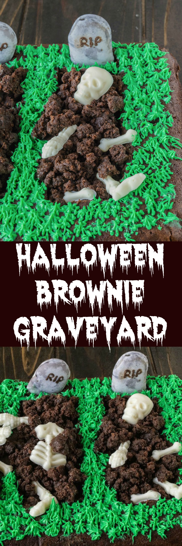 Make Halloween Graveyard Brownie Cake