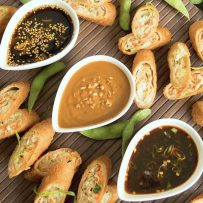 Asian sauces in white bowls in a diagonal line with egg rolls