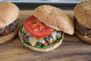 Caramelized red pepper & onion burger has the vegetables cooked in the patty for maximum flavor.