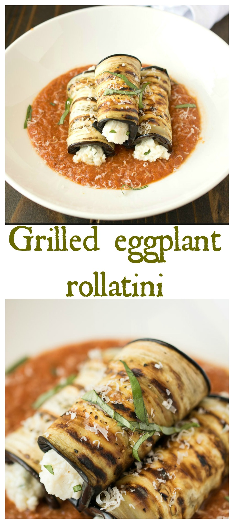 Grilled eggplant rollatini. Grilled instead of fried, the eggplant is rolled up with homemade ricotta, fresh basil, fresh lemon and a hint of nutmeg. Delicious appetizers or entreé.