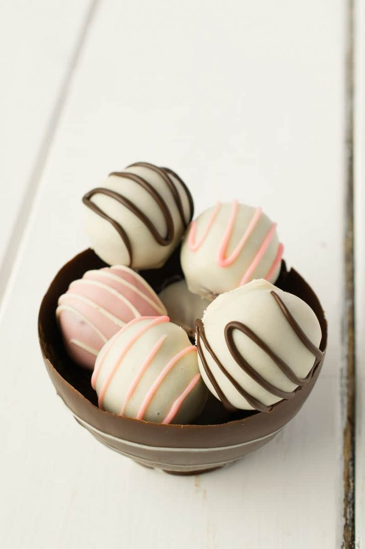 White chocolate truffles in a chocolate bowl