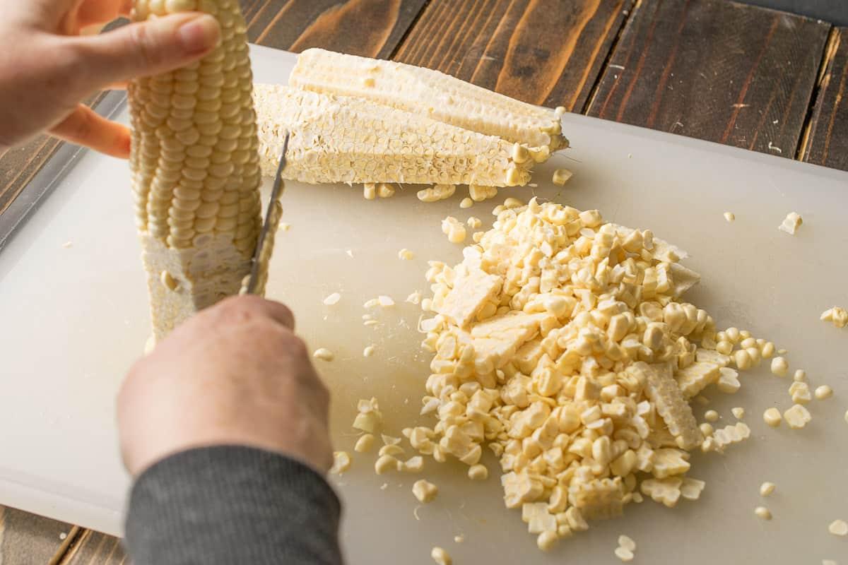 How to cut the kernels off a corn cob