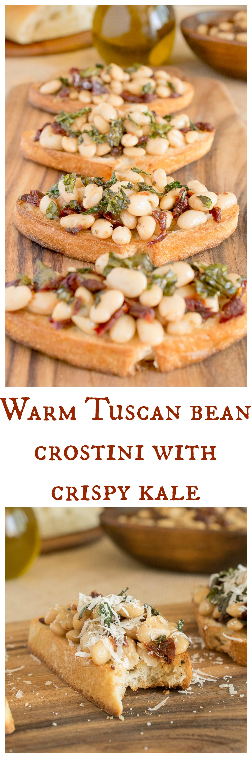 Warm tuscan bean crostini with crispy kale-longpin