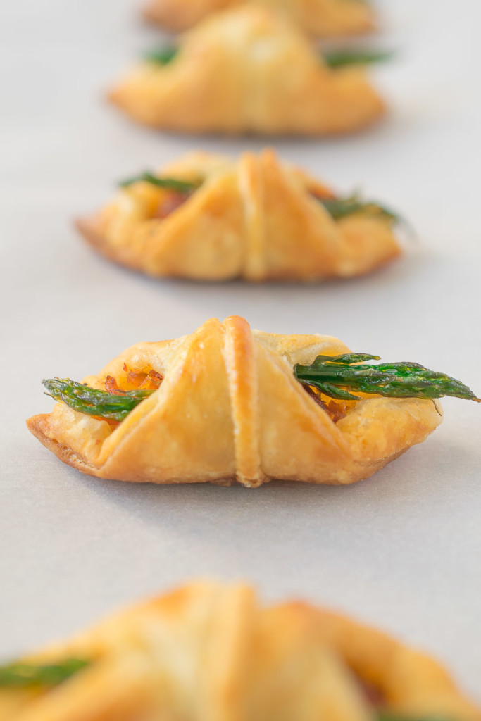 A closeup showing the perfect puff pastry and asparagus