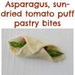 Asparagus sun-dried tomato puff pastry bites