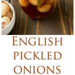 English pickled onions in a jar and onions in a bowl