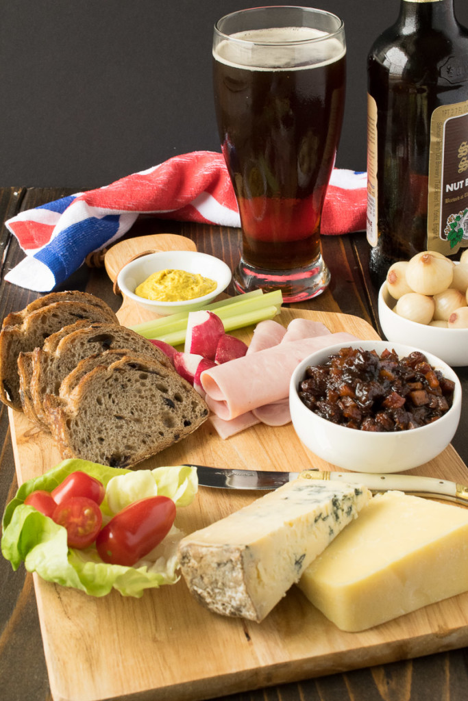 A Ploughman's lunch of meats, relish, bread and cheese