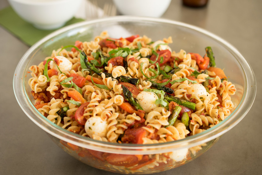 Grilled vegetable sun-dried tomato pesto pasta is a delicious use of fresh summer vegetables that are grilled, added to pasta and dressed in a delicious homemade sun-dried tomato pesto.