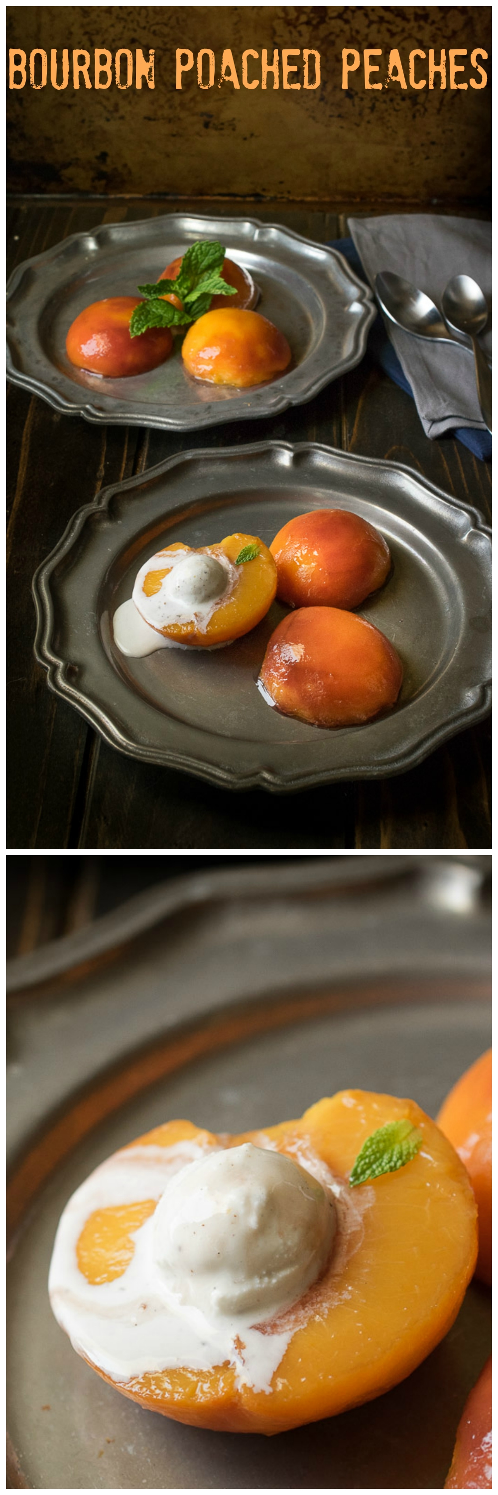 Bourbon poached peaches - Culinary Ginger