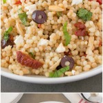 Mediterranean couscous salad from the side and overhead