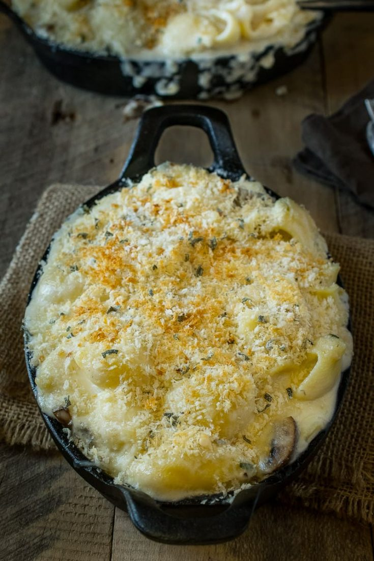 Mushroom sage mac and cheese