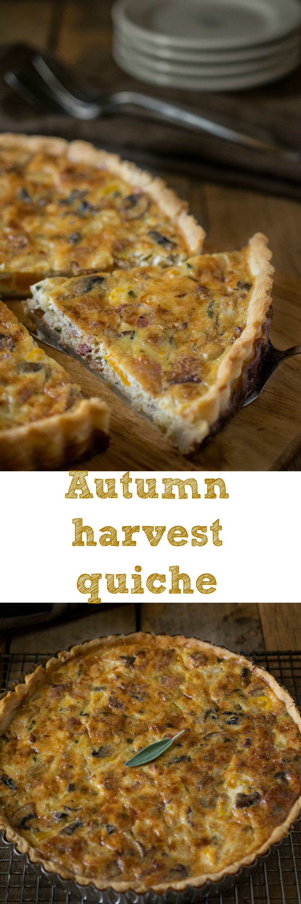 Autumn harvest quiche - Buttery, flaky crust with a mushroom, bacon, butternut squash, leek and sage filling.