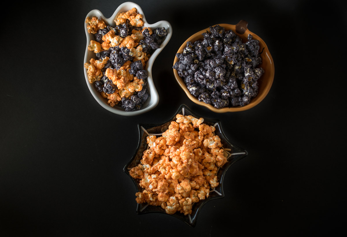 If you're entertaining this Halloween or just need a tasty snack while you're trick or treating, this Halloween popcorn is easy to make and the orange and black bring a spooky look to your food. No tricks, just treats.