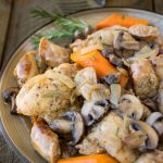 Slow cooker rosemary chicken, sausage & mushrooms - a one pot dish that has so much flavor. An easy weeknight, or weekend comfort food dinner, all it needs is mashed potato.