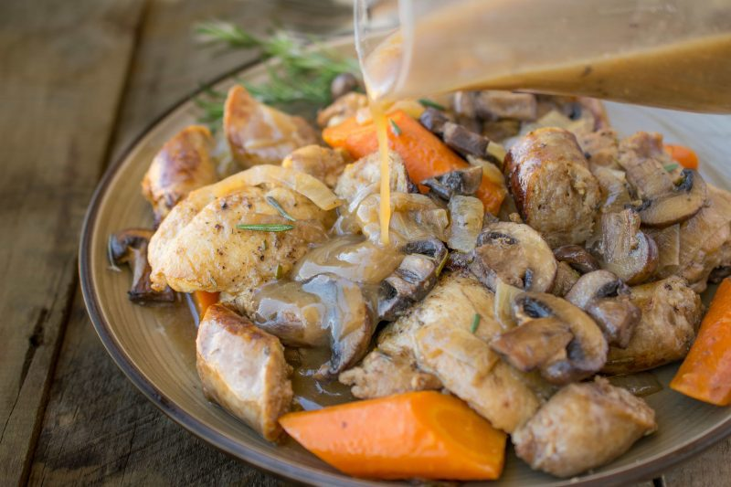 Slow cooker rosemary chicken, sausage & mushrooms - An easy weeknight, or weekend comfort food dinner, all it needs is mashed potato.