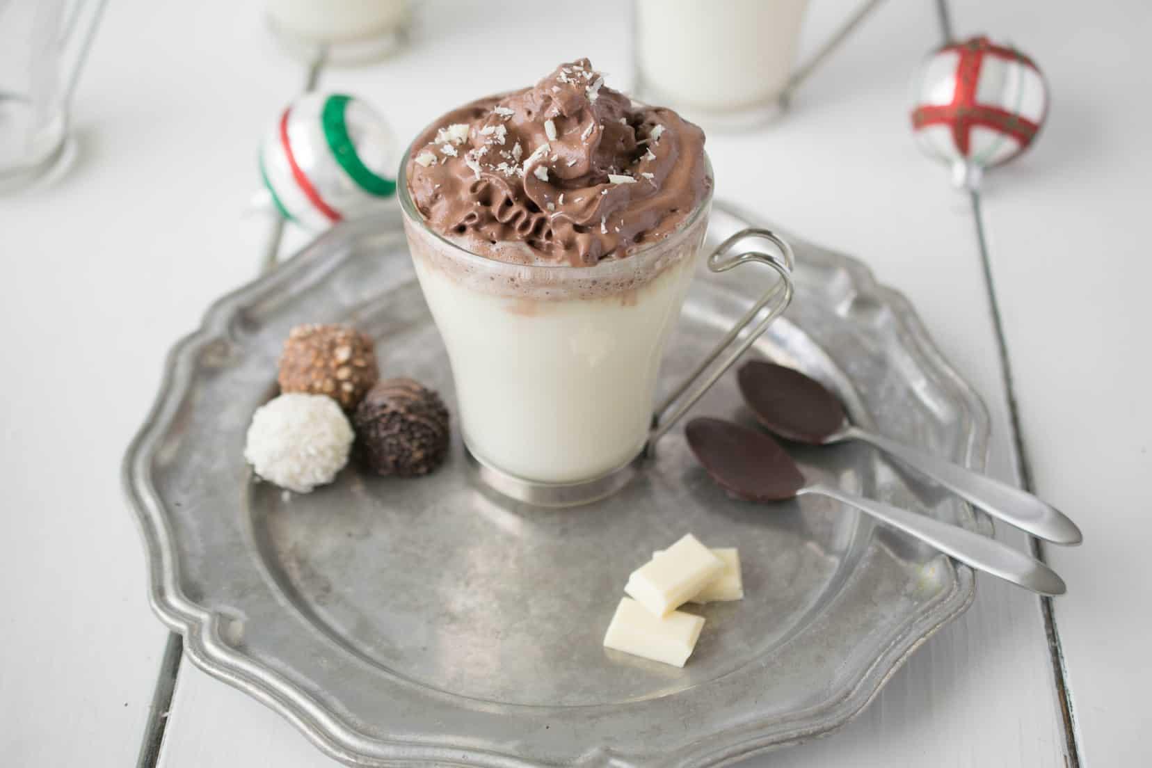 White hot chocolate with dark chocolate whipped cream - Culinary ...