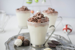 white hot chocolate with dark chocolate whipped cream piped on the top. It's a chocolate-fest and I'm OK with that because this is a warm and comforting drink that will satisfy all chocolate lovers.