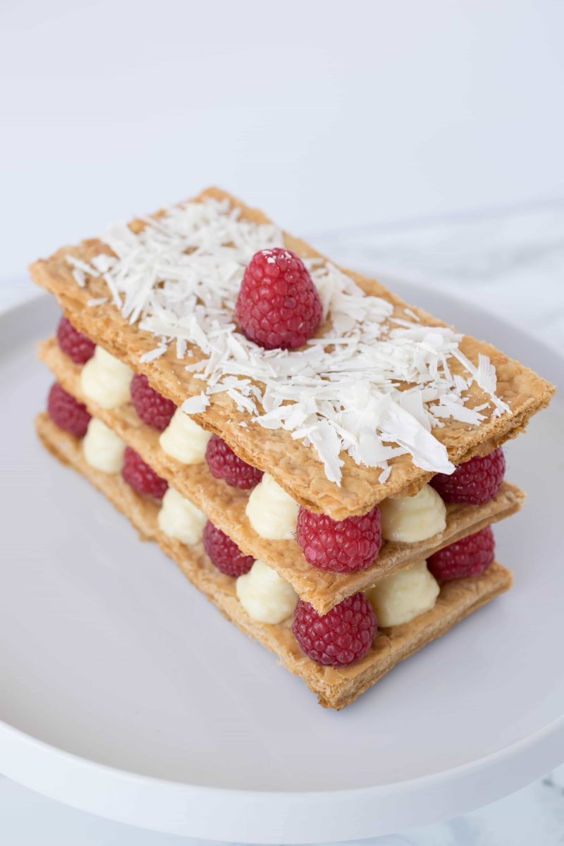 Raspberry Napoleon on a white plate