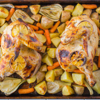 Sheet pan roast chicken & vegetables