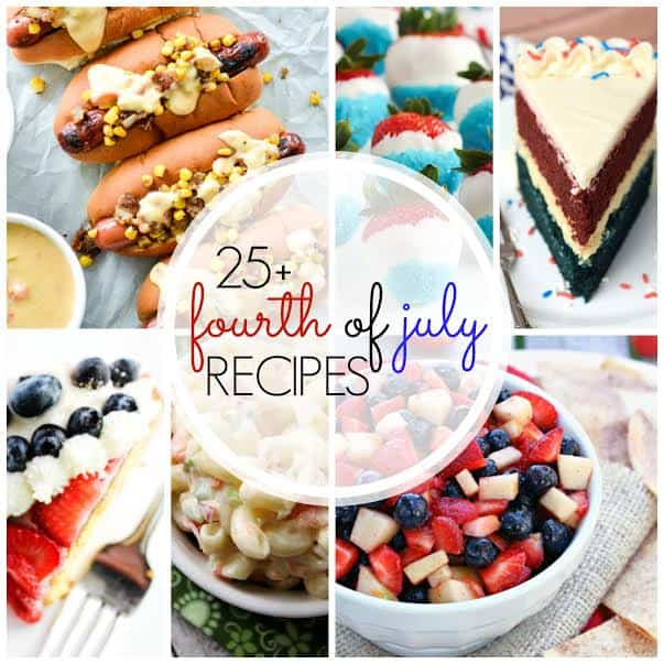 A collage of patriotic desserts from hot dogs to red white and blue desserts
