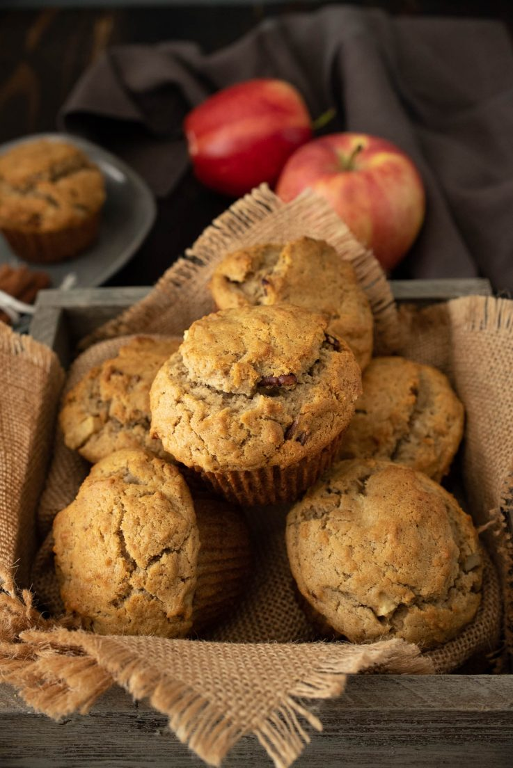Apple pie pecan muffins warm out of the oven