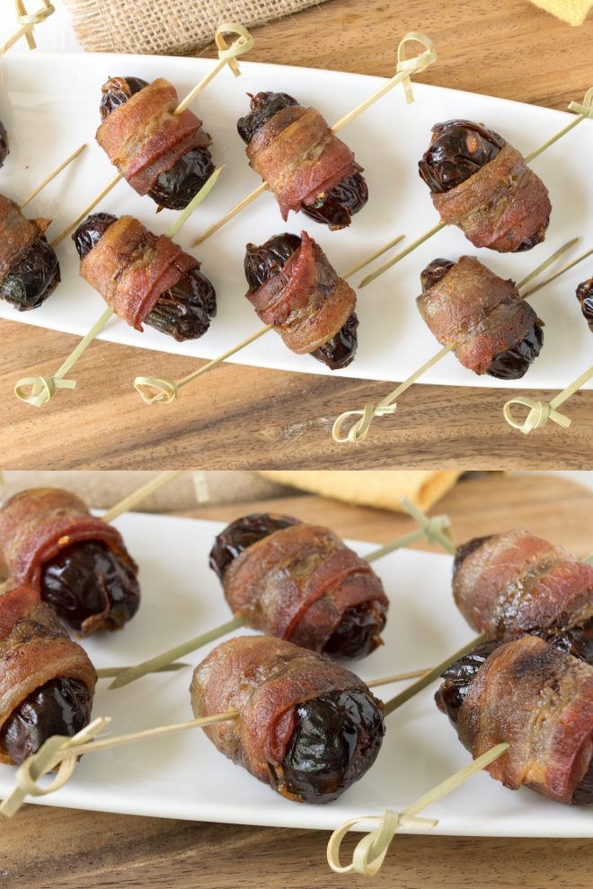 Skewered bacon wrapped dates for easy handling