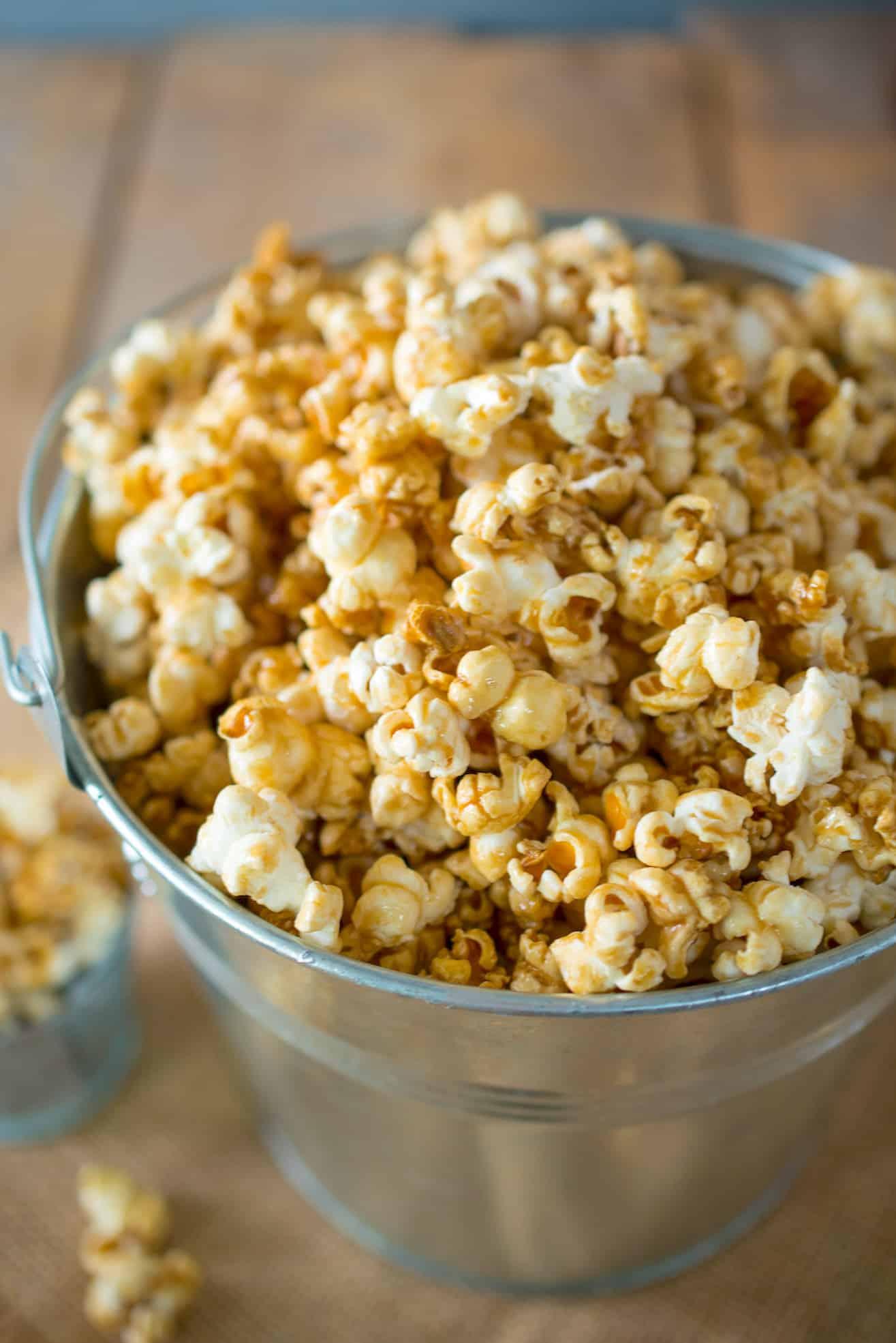 A closeup of Apple Cider Caramel Popcorn