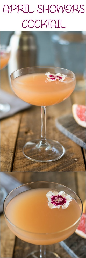 April showers bring May flowers, but in this case they also bring an April showers cocktail with edible flowers for garnish. Gin, fresh lemon juice, agave and pink grapefruit juice are perfectly blended to make this the perfect springtime drink. #gincocktail #redgrapefruit #aprilshowers
