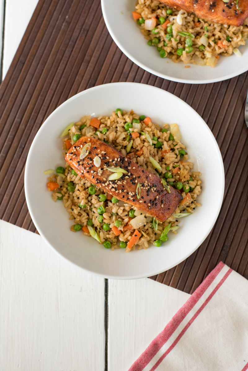 An overhead picture of Asian rub salmon with fried rice