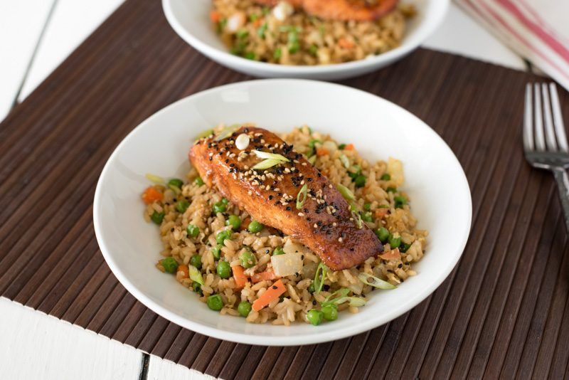 Asian Rub Grilled Salmon Fried Rice Bowl