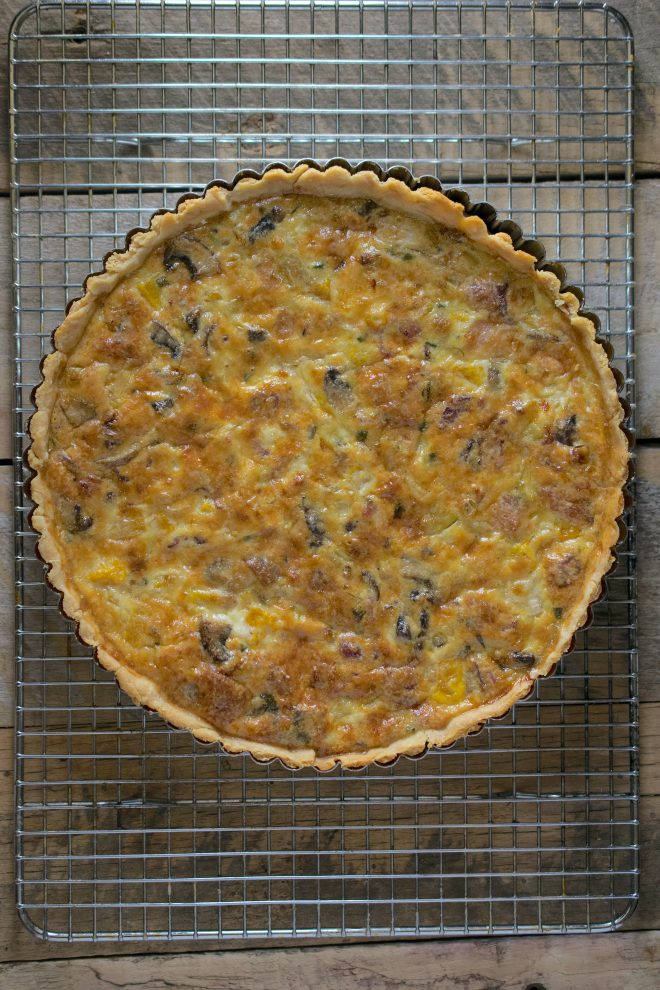 A view of the quiche from above