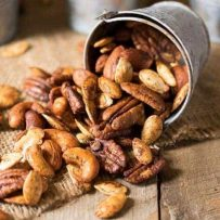 A closeup showing all the different mixed nuts