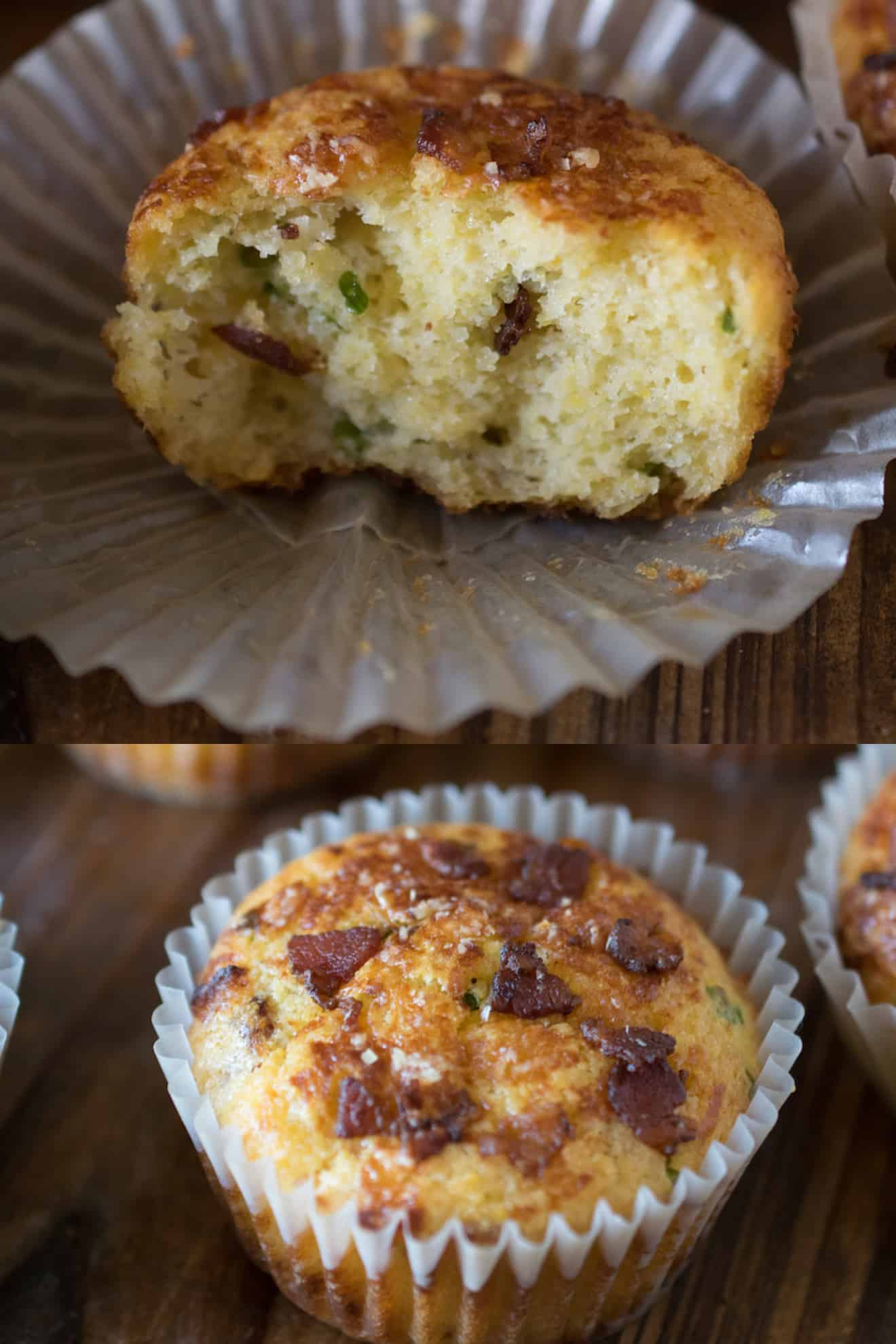 Half of a muffin showing the fluffy inside with bacon pieces