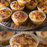 Muffins stacked on a serving board and a closeup