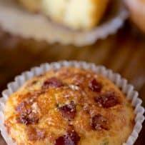 A bacon cheddar corn muffin closeup