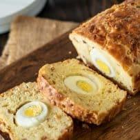 Slices of loaf showing the hard boiled egg inside
