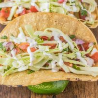 A corn tortilla filled with halibut, pico de gallo, cabbage and Mexican cream