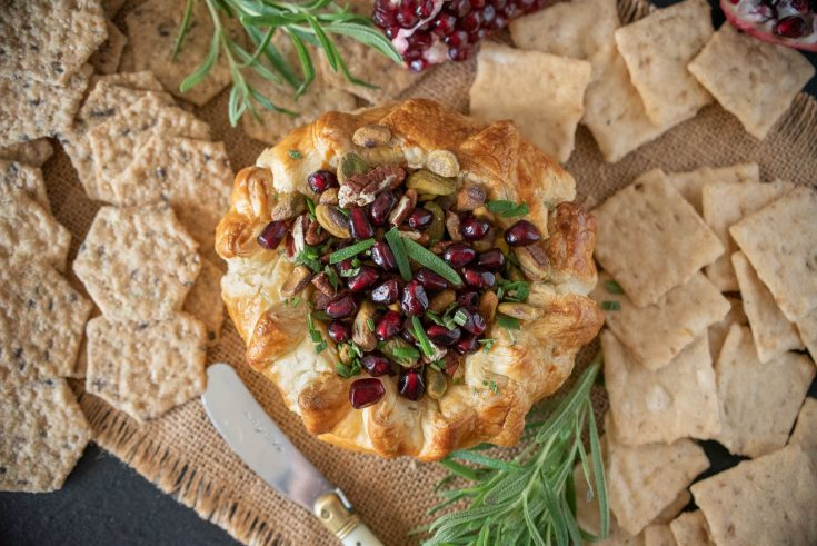 Baked Brie with Pistachios Pomegranate and Rosemary
