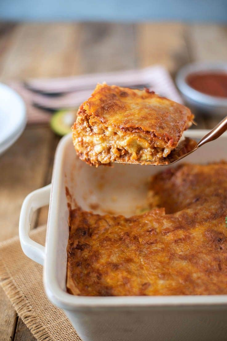 A slice of lasagna on a spatula