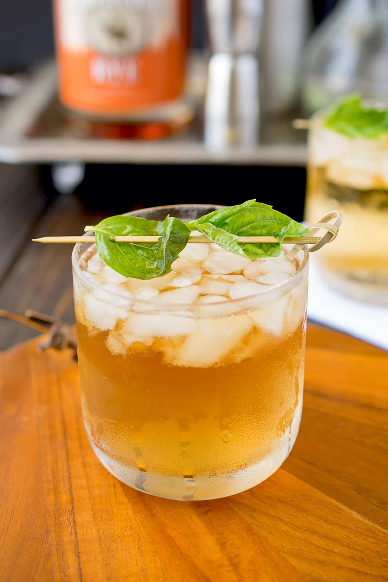 A basil julep from the side