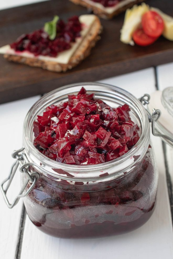 A sealed jar filled with beet relish