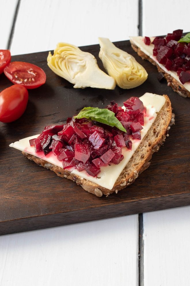 Beet relish on bread with cheese