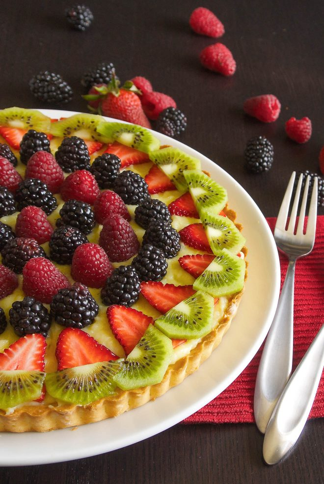 A perfectly golden crust filled with custard and topped with berry fruit and kiwi